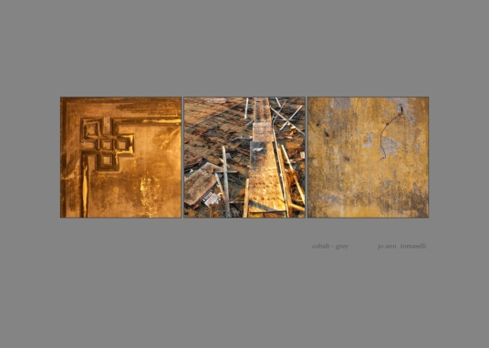 cobalt-grey Triptych Image Art 3 gold colored images combined to make a beautiful tryptic for-sale online best buy
