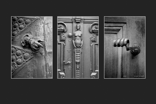 Enter triptych image art for-sale on line 3 images of door knockers and handles