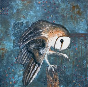 Abstract owl painting by Laura Carter