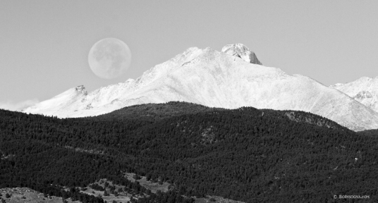 Moon Over Snow Covered Twin Peaks BW Panorama Art