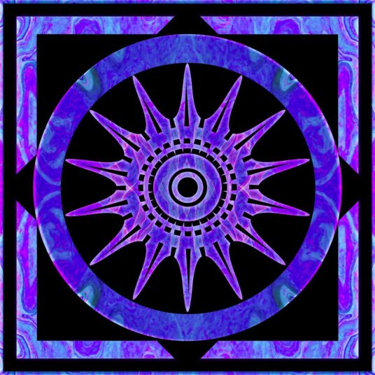 Starlit Purple Nights Abstract Mandala Artwork by Omaste Witkowski owPhotoGrafik.com