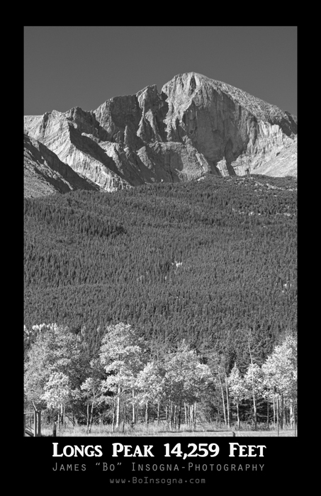 Longs Peak 14259 Ft Black and White Poster