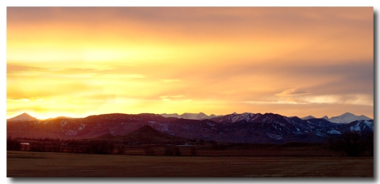 Haystack Rocky Mountain Front Range Sunset Panorama