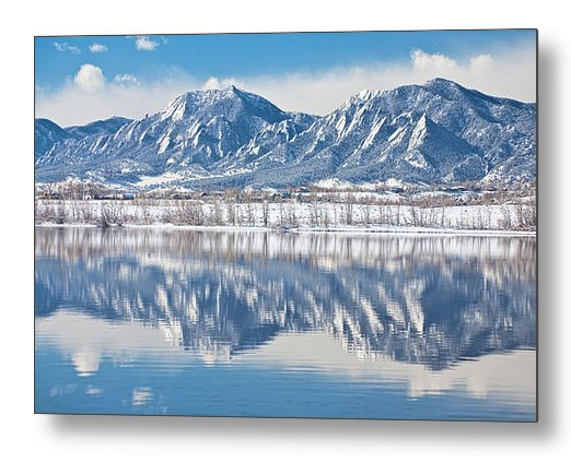 Boulder Reservoir Flatirons Reflections Boulder Colorado Metal P